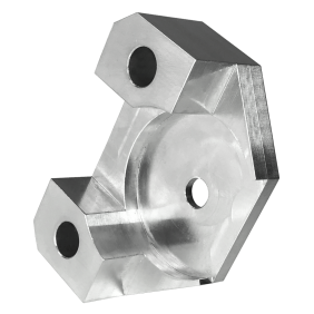 Block component CNC machined in aluminium with clear anodising finish