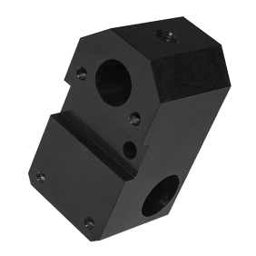 Black anodised aluminium CNC machined block