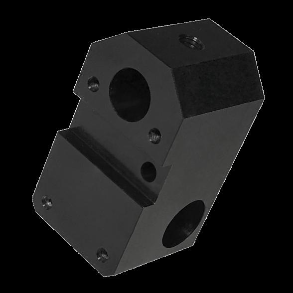 Black anodised aluminium CNC machined block