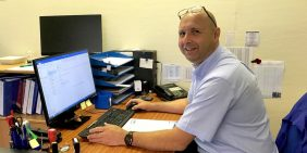 Production Manager Andy Stone following customers orders
