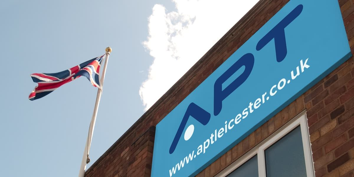 APT Leicester factory building sign in Groby