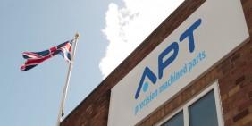 APT factory building signage with Union Jack flag