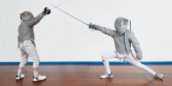 Olympic sword fencing equipment in titanium for Leon Paul