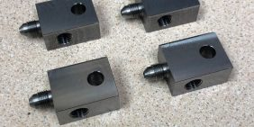 Mild steel square turned parts with thread milling