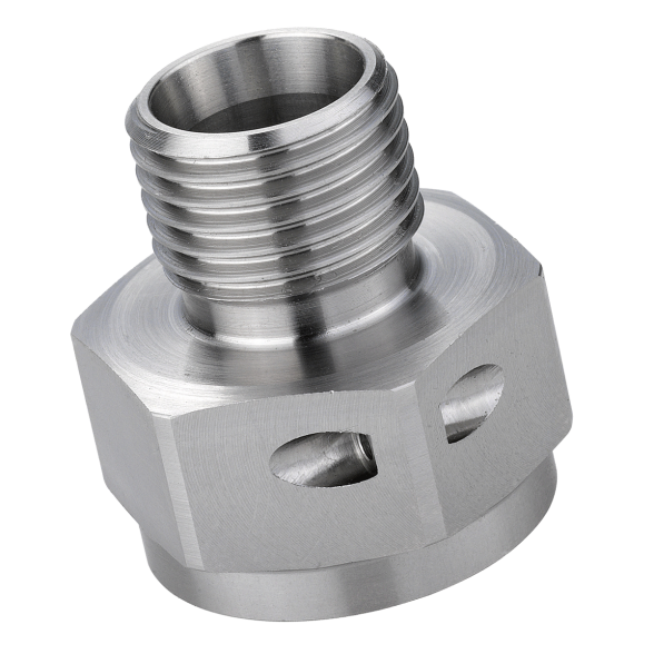Mild steel turned part component with clear zinc passivated finish