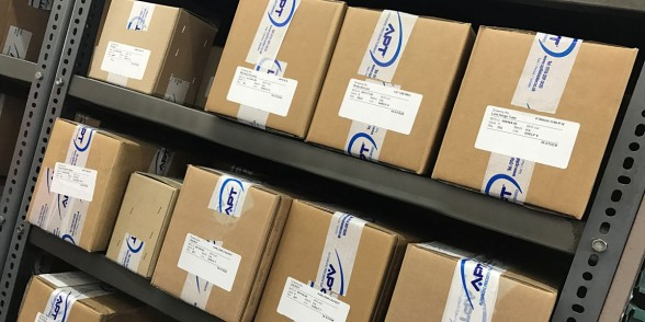 On-site storage space with blanket orders parts boxed-up and ready to be dispatched to our customers