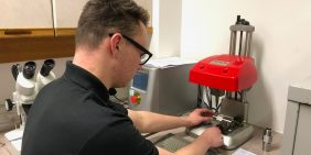 Our apprentice Sam marking precision turned parts